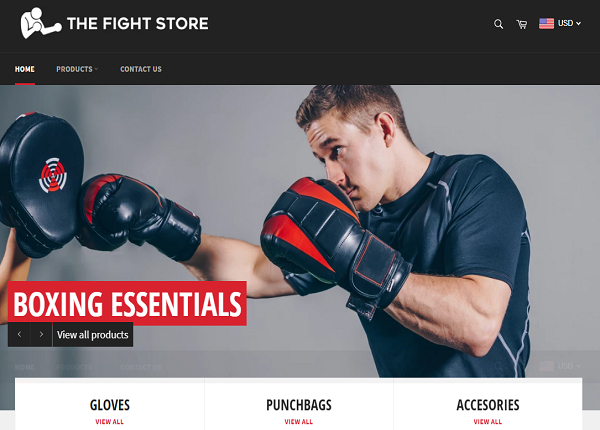 Boxing Products - Shopify Ecommerce Website For Sale