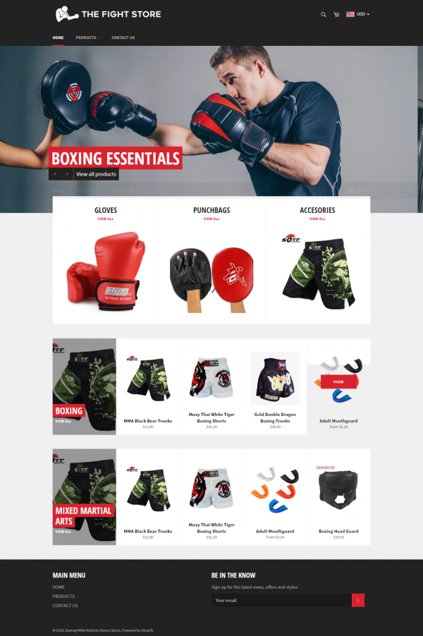 Boxing Products Shopify Ecommerce Website For Sale